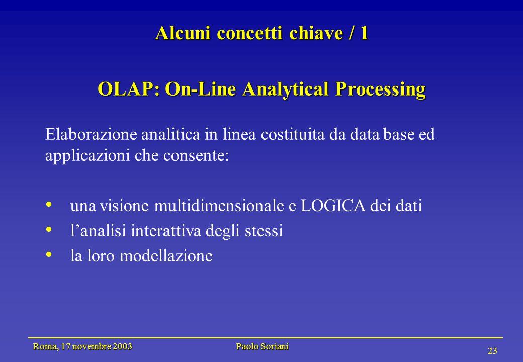 Roma, 17 novembre 2003 Paolo Soriani 23 Alcuni concetti chiave / 1 OLAP: On-Line Analytical Processing Elaborazione analitica in linea costituita da data base ed applicazioni che consente: una visione multidimensionale e LOGICA dei dati l'analisi interattiva degli stessi la loro modellazione