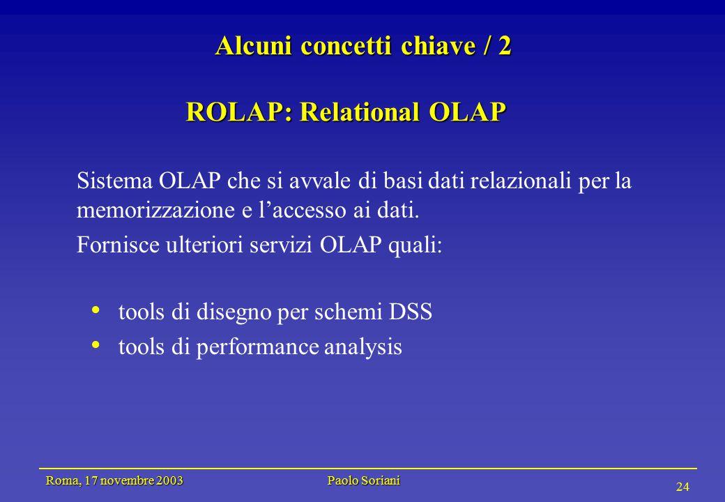 Roma, 17 novembre 2003 Paolo Soriani 24 Alcuni concetti chiave / 2 Sistema OLAP che si avvale di basi dati relazionali per la memorizzazione e l'accesso ai dati.