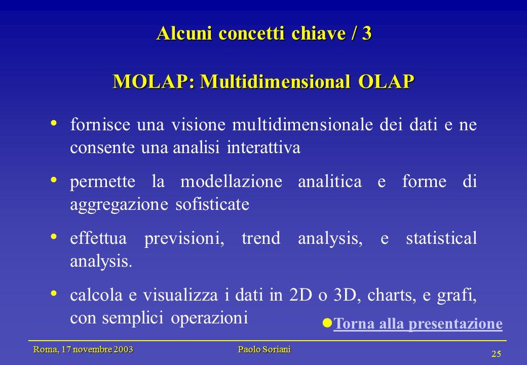 Roma, 17 novembre 2003 Paolo Soriani 25 Alcuni concetti chiave / 3 MOLAP: Multidimensional OLAP fornisce una visione multidimensionale dei dati e ne consente una analisi interattiva permette la modellazione analitica e forme di aggregazione sofisticate effettua previsioni, trend analysis, e statistical analysis.