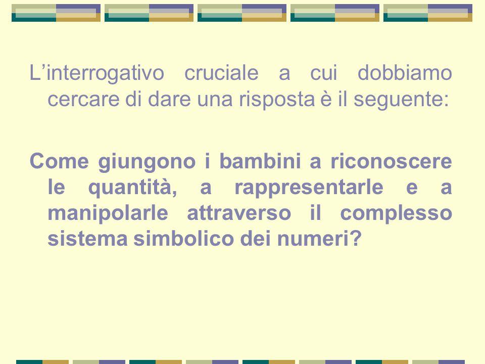 L'interrogativo cruciale a cui dobbiamo cercare di dare una risposta è il seguente: Come giungono i bambini a riconoscere le quantità, a rappresentarl