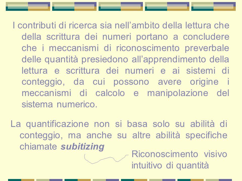 I contributi di ricerca sia nell'ambito della lettura che della scrittura dei numeri portano a concludere che i meccanismi di riconoscimento preverbal