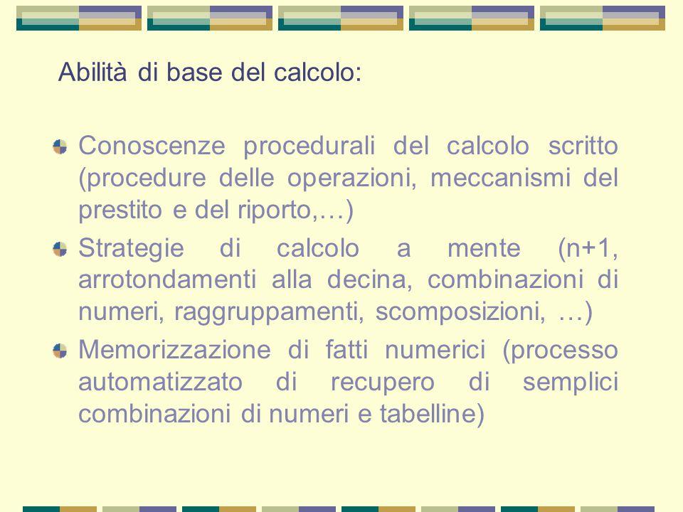 Abilità di base del calcolo: Conoscenze procedurali del calcolo scritto (procedure delle operazioni, meccanismi del prestito e del riporto,…) Strategi
