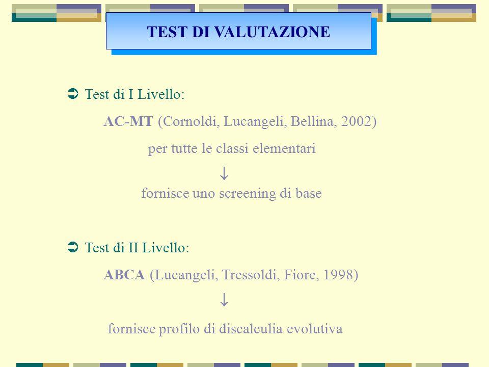  Test di I Livello: AC-MT (Cornoldi, Lucangeli, Bellina, 2002) per tutte le classi elementari  fornisce uno screening di base  Test di II Livello:
