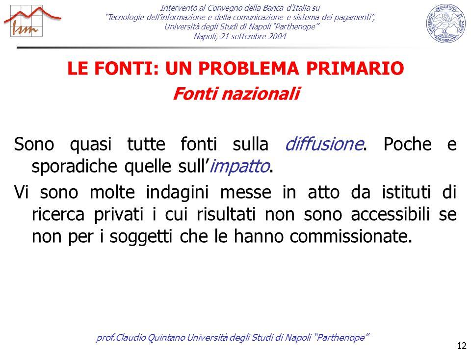 prof.Claudio Quintano Università degli Studi di Napoli Parthenope 12 LE FONTI: UN PROBLEMA PRIMARIO Fonti nazionali Sono quasi tutte fonti sulla diffusione.