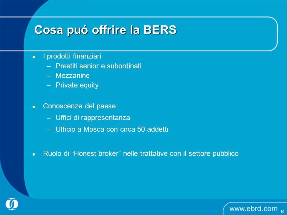 Cosa puó offrire la BERS I prodotti finanziari –Prestiti senior e subordinati –Mezzanine –Private equity Conoscenze del paese –Uffici di rappresentanz