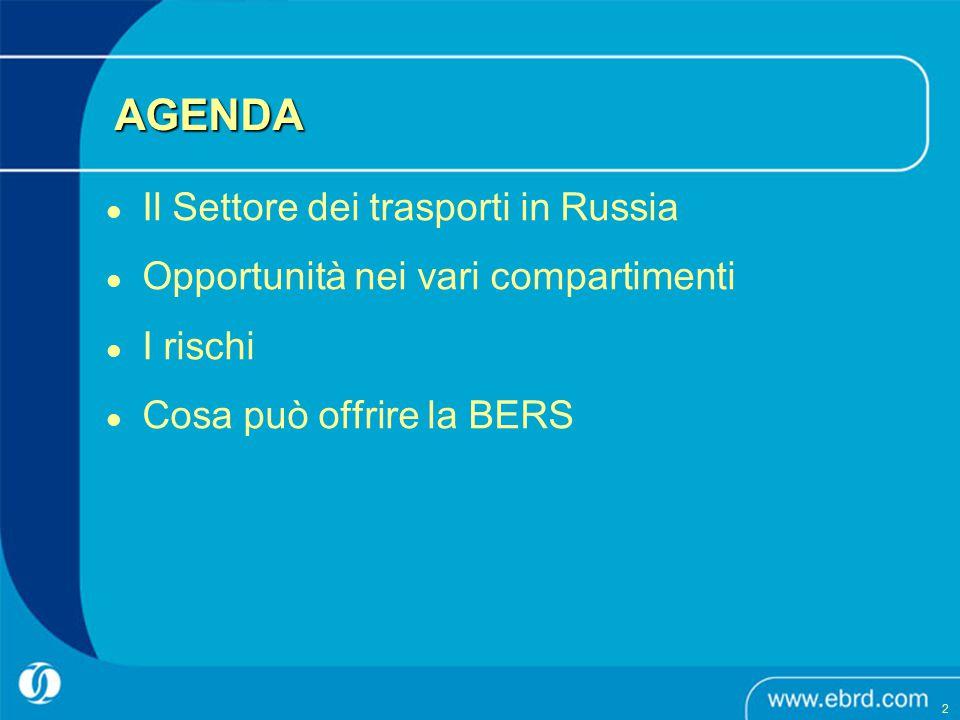 AGENDA Il Settore dei trasporti in Russia Opportunità nei vari compartimenti I rischi Cosa può offrire la BERS 2 2