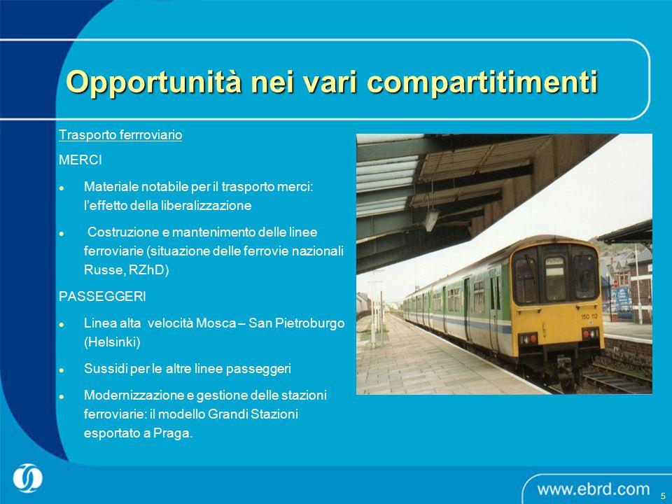 Trasporto ferrroviario MERCI Materiale notabile per il trasporto merci: l'effetto della liberalizzazione Costruzione e mantenimento delle linee ferrov