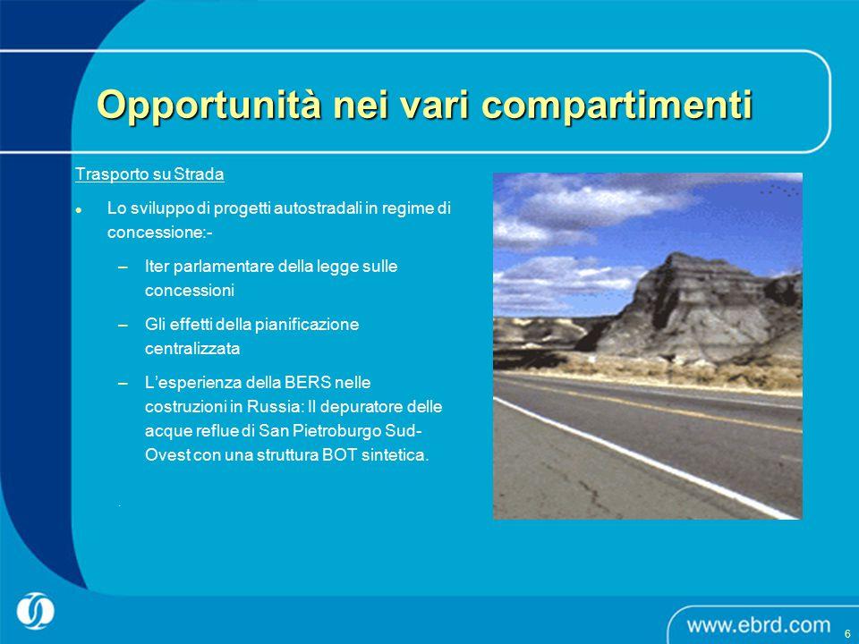 Trasporto su Strada Lo sviluppo di progetti autostradali in regime di concessione:- –Iter parlamentare della legge sulle concessioni –Gli effetti dell