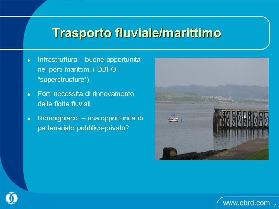 """Infrastruttura – buone opportunità nei porti marittimi ( DBFO – """"superstructure"""") Forti necessità di rinnovamento delle flotte fluviali Rompighiacci –"""