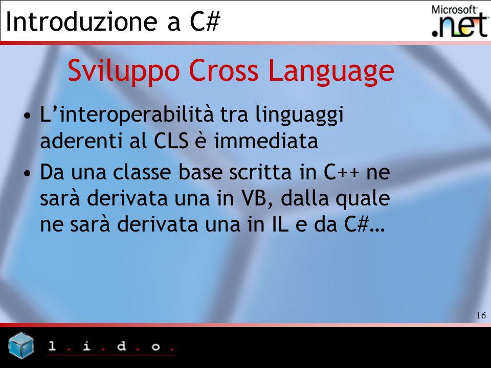 Introduzione a C# 16 Sviluppo Cross Language L'interoperabilità tra linguaggi aderenti al CLS è immediata Da una classe base scritta in C++ ne sarà de