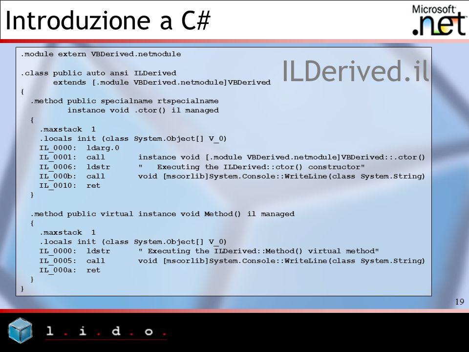 Introduzione a C# 19 ILDerived.il.module extern VBDerived.netmodule.class public auto ansi ILDerived extends [.module VBDerived.netmodule]VBDerived {.