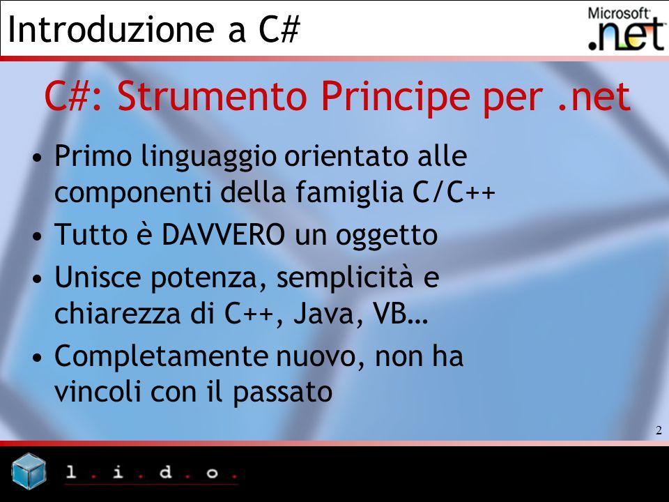 Introduzione a C# 2 C#: Strumento Principe per.net Primo linguaggio orientato alle componenti della famiglia C/C++ Tutto è DAVVERO un oggetto Unisce p