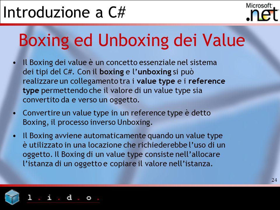 Introduzione a C# 24 Boxing ed Unboxing dei Value Il Boxing dei value è un concetto essenziale nel sistema dei tipi del C#. Con il boxing e l'unboxing