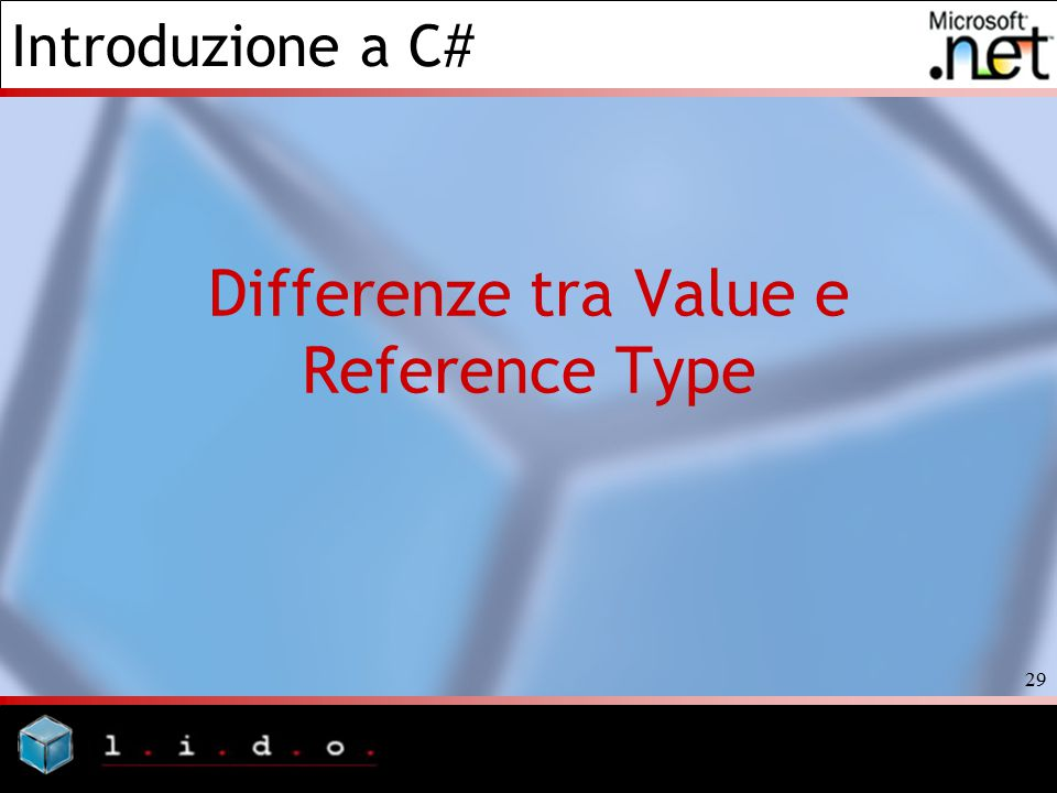Introduzione a C# 29 Differenze tra Value e Reference Type