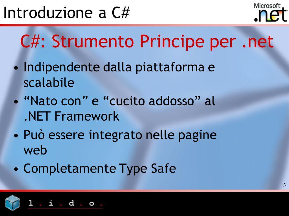 """Introduzione a C# 3 C#: Strumento Principe per.net Indipendente dalla piattaforma e scalabile """"Nato con"""" e """"cucito addosso"""" al.NET Framework Può esser"""