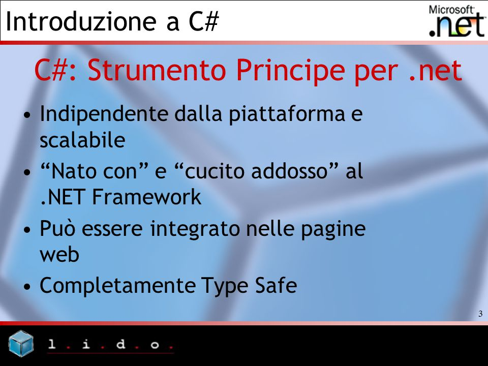 Introduzione a C# 94 Bibliografia e Fonti >>In principio fu System.Object *Documentazione Microsoft di accompagnamento a.NET Framework SDK >>Hello, World *Documentazione Microsoft di accompagnamento a.NET Framework SDK >>Sviluppo Cross Language *Documentazione Microsoft di accompagnamento a.NET Framework SDK >>Boxing ed Unboxing dei Value *Documentazione Microsoft di accompagnamento a.NET Framework SDK *http://www.oreillynet.com/pub/a/dotnet/2001/06/07/csharp_java.html?page=4 *http://www.c-sharpcorner.com/Language/BoxNUnBoxGAG.asp