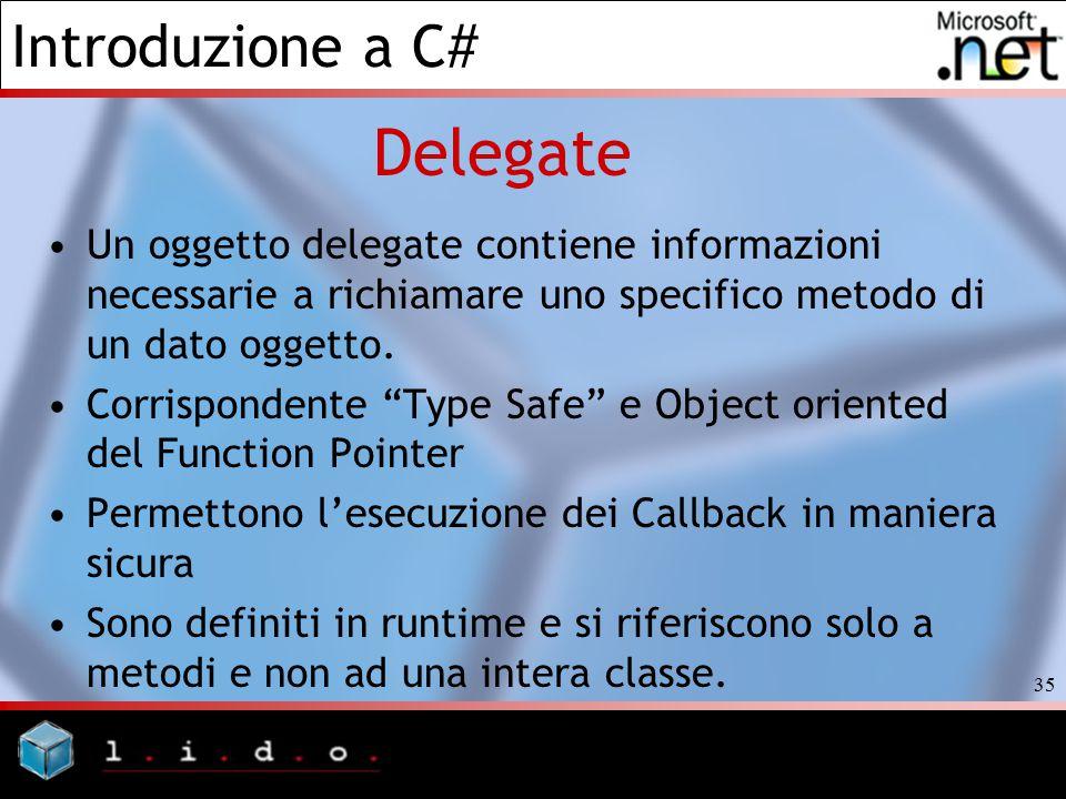 Introduzione a C# 35 Delegate Un oggetto delegate contiene informazioni necessarie a richiamare uno specifico metodo di un dato oggetto. Corrispondent