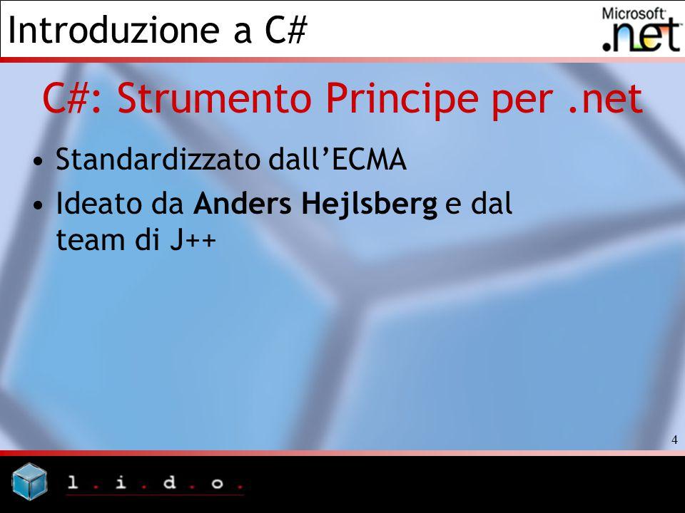Introduzione a C# 4 C#: Strumento Principe per.net Standardizzato dall'ECMA Ideato da Anders Hejlsberg e dal team di J++