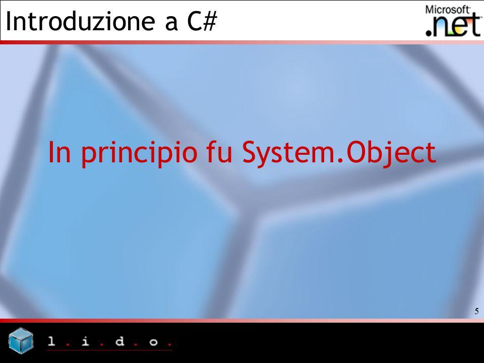 Introduzione a C# 6 Tutto è un oggetto In C# tutti i tipi reference, sono derivati dal tipo base System.Object.