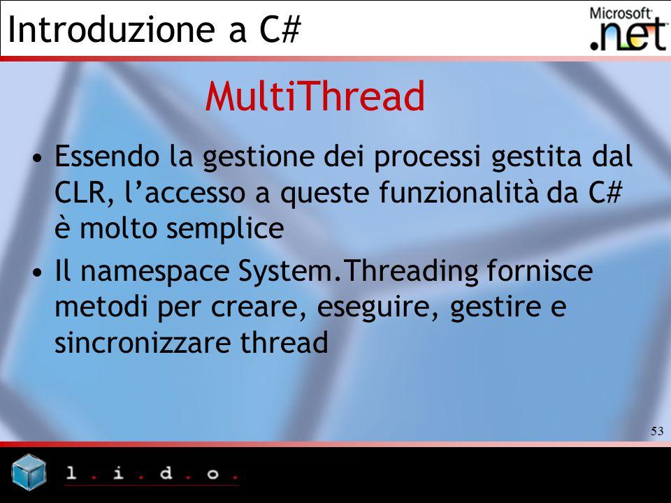 Introduzione a C# 53 Essendo la gestione dei processi gestita dal CLR, l'accesso a queste funzionalità da C# è molto semplice Il namespace System.Thre