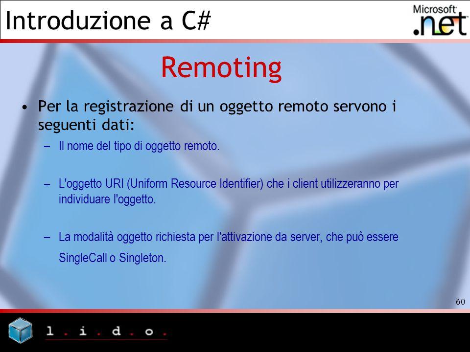 Introduzione a C# 60 Remoting Per la registrazione di un oggetto remoto servono i seguenti dati: –Il nome del tipo di oggetto remoto. –L'oggetto URI (