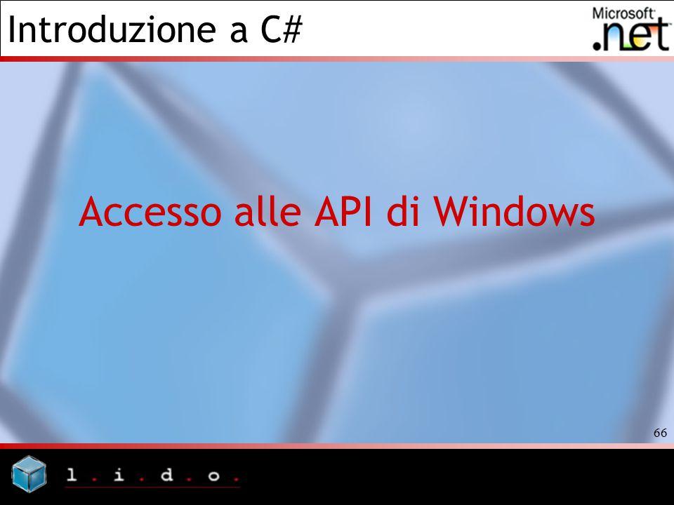 Introduzione a C# 66 Accesso alle API di Windows