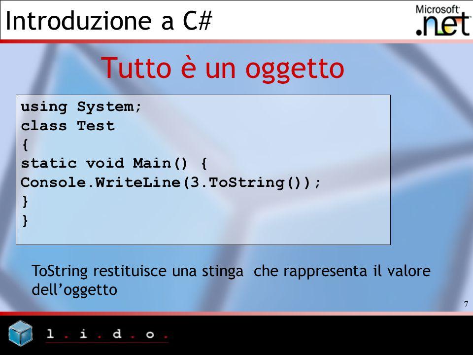 Introduzione a C# 8 Tutto è un oggetto In particolare la classe System.Object offre i seguenti metodi: Equals (public, virtual): Permette la comparazione di due oggetti per stabilire se il loro valore è uguale.