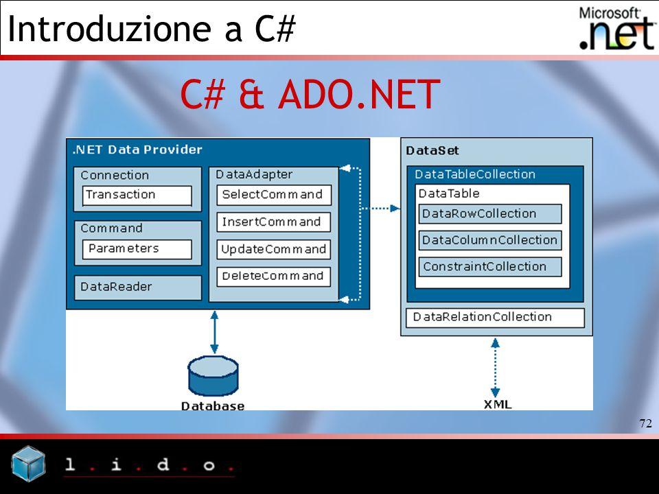 Introduzione a C# 72 C# & ADO.NET