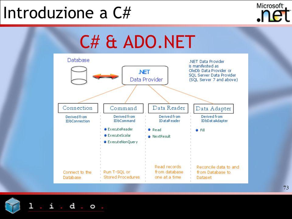 Introduzione a C# 73 C# & ADO.NET