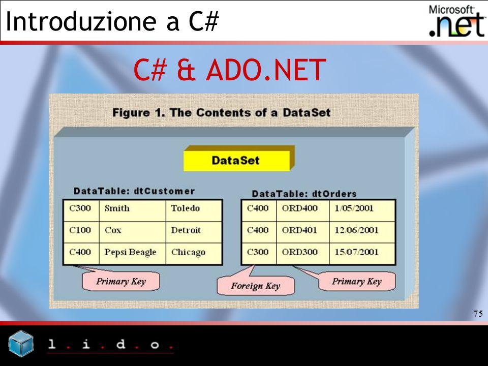 Introduzione a C# 75 C# & ADO.NET