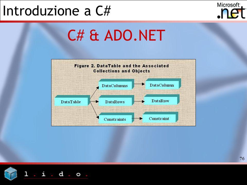 Introduzione a C# 76 C# & ADO.NET