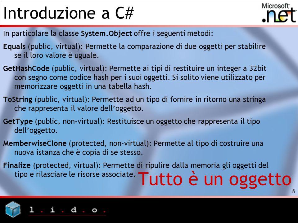 Introduzione a C# 9 Tutto è un oggetto using System; public class MyClass { public static void Main() { object a; a = 1; // un esempio di boxing Console.WriteLine(a); Console.WriteLine(a.GetType()); Console.WriteLine(a.ToString()); Console.WriteLine(); } Output 1 System.Int32 1