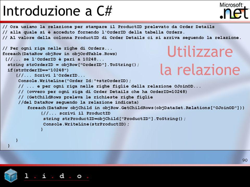 Introduzione a C# 90 Utilizzare la relazione // Ora usiamo la relazione per stampare il ProductID prelevato da Order Details // alla quale si è accedu