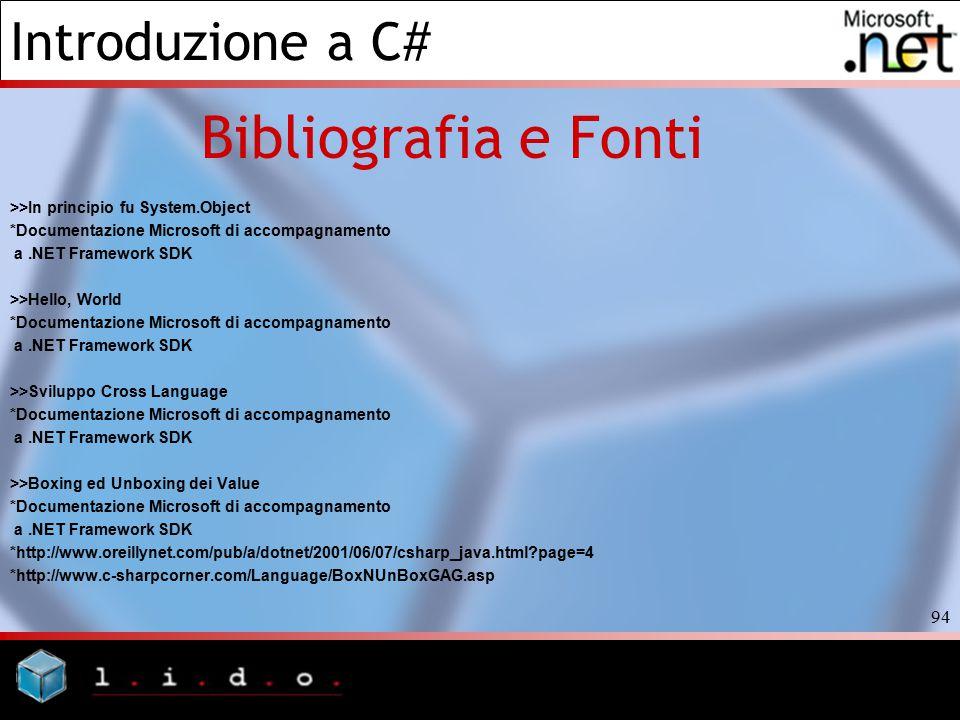 Introduzione a C# 94 Bibliografia e Fonti >>In principio fu System.Object *Documentazione Microsoft di accompagnamento a.NET Framework SDK >>Hello, Wo