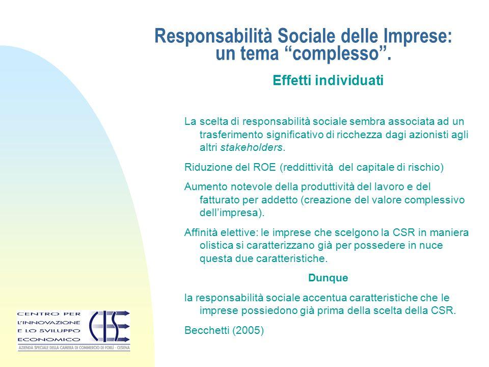 """Responsabilità Sociale delle Imprese: un tema """"complesso"""". Effetti individuati La scelta di responsabilità sociale sembra associata ad un trasferiment"""