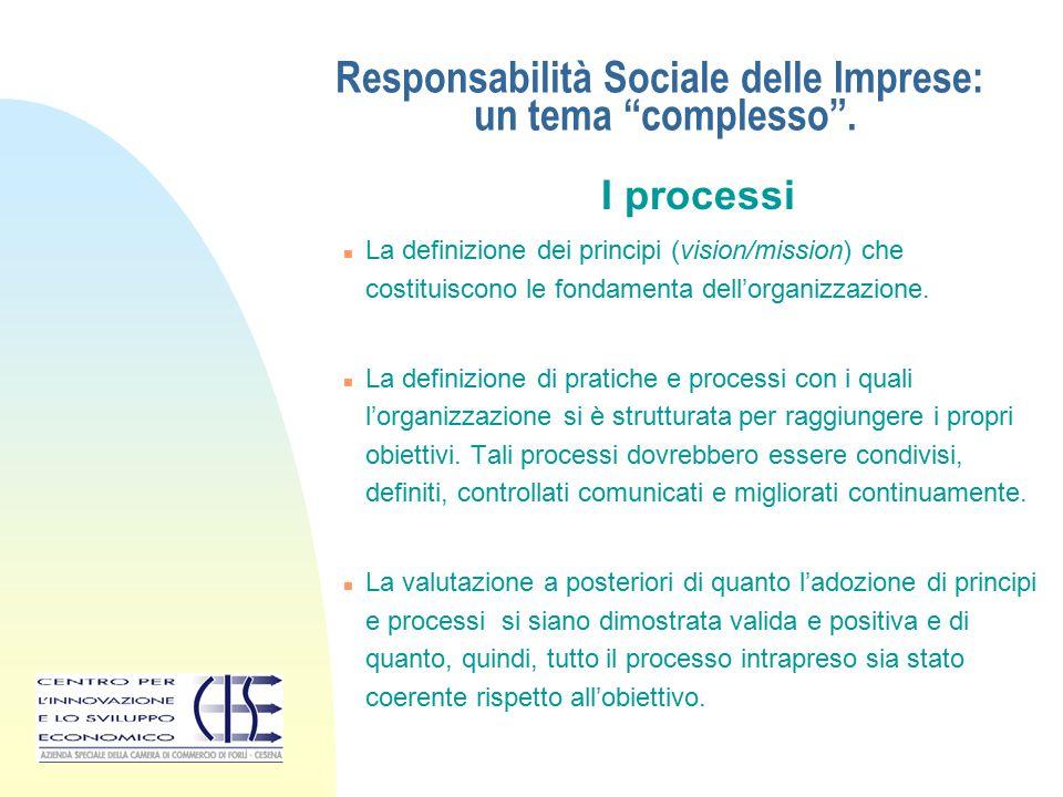 """Responsabilità Sociale delle Imprese: un tema """"complesso"""". I processi n La definizione dei principi (vision/mission) che costituiscono le fondamenta d"""