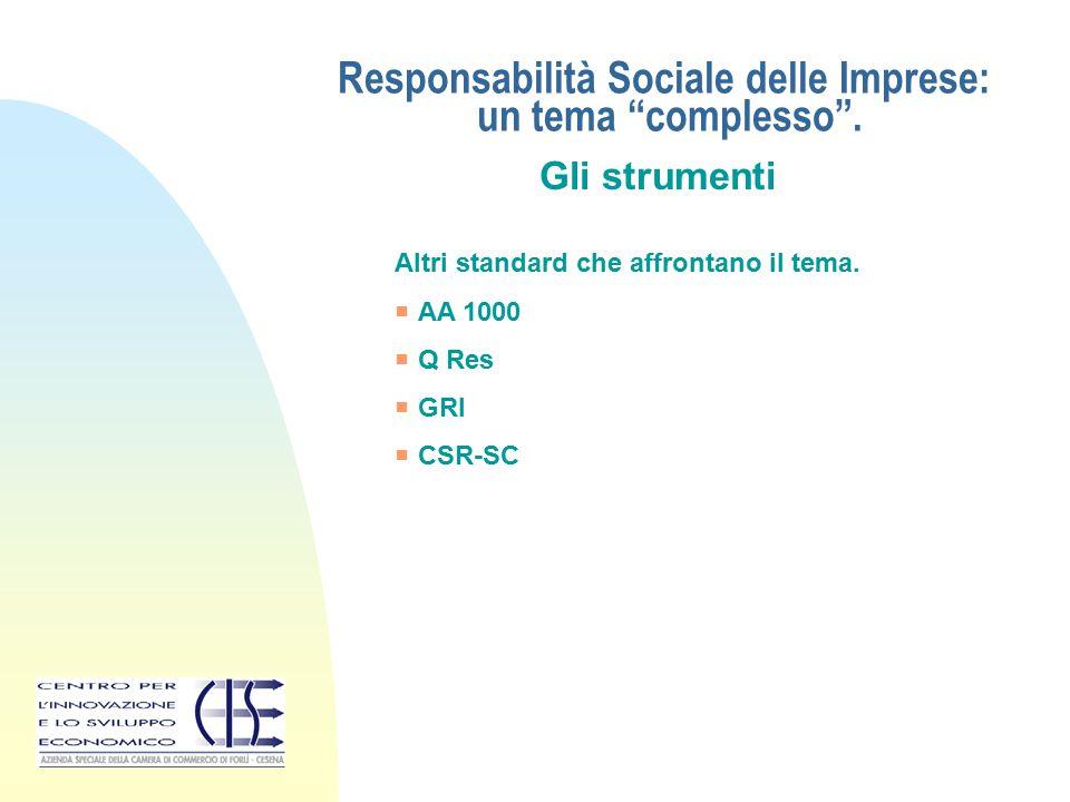 """Responsabilità Sociale delle Imprese: un tema """"complesso"""". Gli strumenti Altri standard che affrontano il tema.  AA 1000  Q Res  GRI  CSR-SC"""