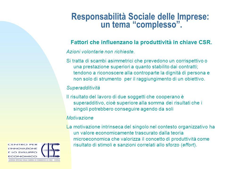 """Responsabilità Sociale delle Imprese: un tema """"complesso"""". Fattori che influenzano la produttività in chiave CSR. Azioni volontarie non richieste. Si"""