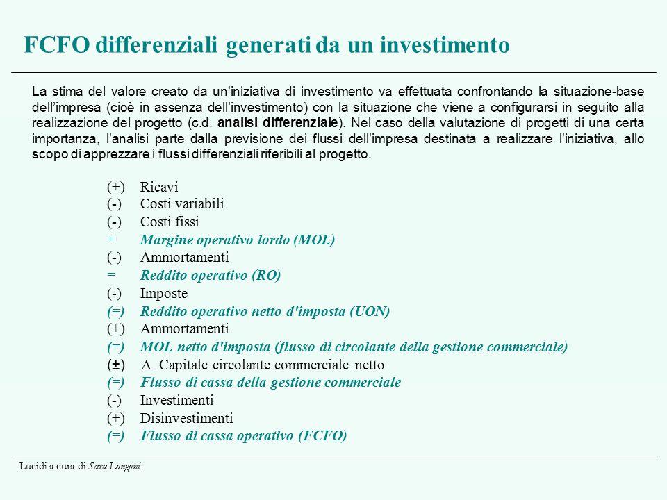 Lucidi a cura di Sara Longoni FCFO differenziali generati da un investimento La stima del valore creato da un'iniziativa di investimento va effettuata