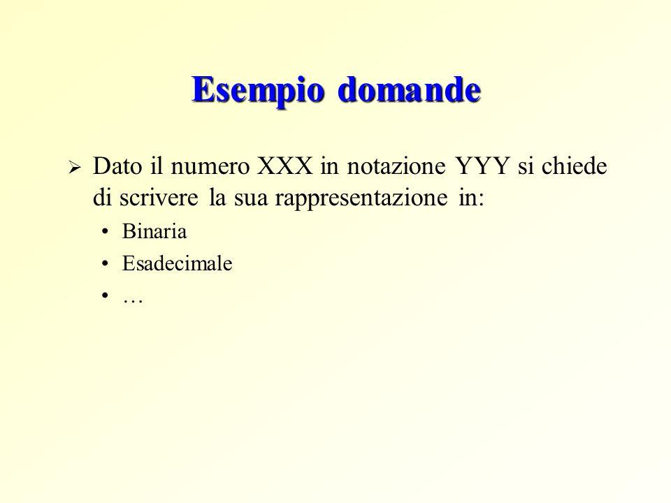 Esempio domande  Dato il numero XXX in notazione YYY si chiede di scrivere la sua rappresentazione in: Binaria Esadecimale …