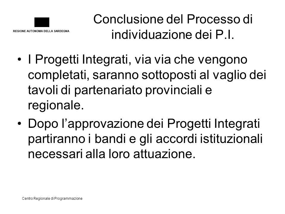 REGIONE AUTONOMA DELLA SARDEGNA Centro Regionale di Programmazione Conclusione del Processo di individuazione dei P.I. I Progetti Integrati, via via c