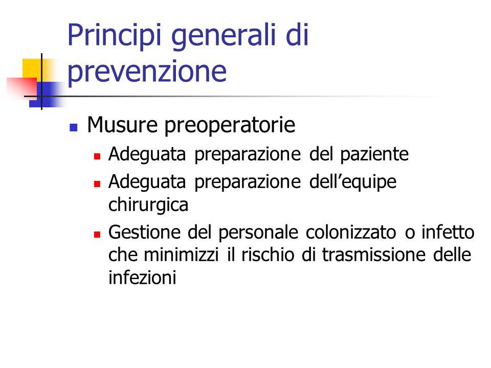 Principi generali di prevenzione Musure preoperatorie Adeguata preparazione del paziente Adeguata preparazione dell'equipe chirurgica Gestione del personale colonizzato o infetto che minimizzi il rischio di trasmissione delle infezioni
