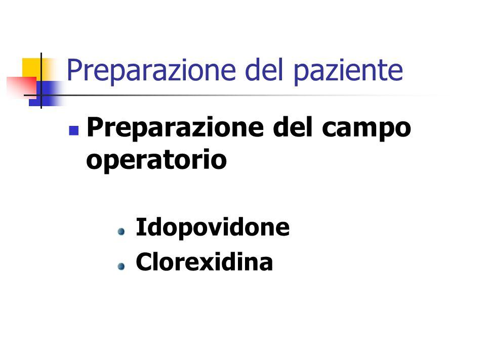 Preparazione del paziente Preparazione del campo operatorio Idopovidone Clorexidina
