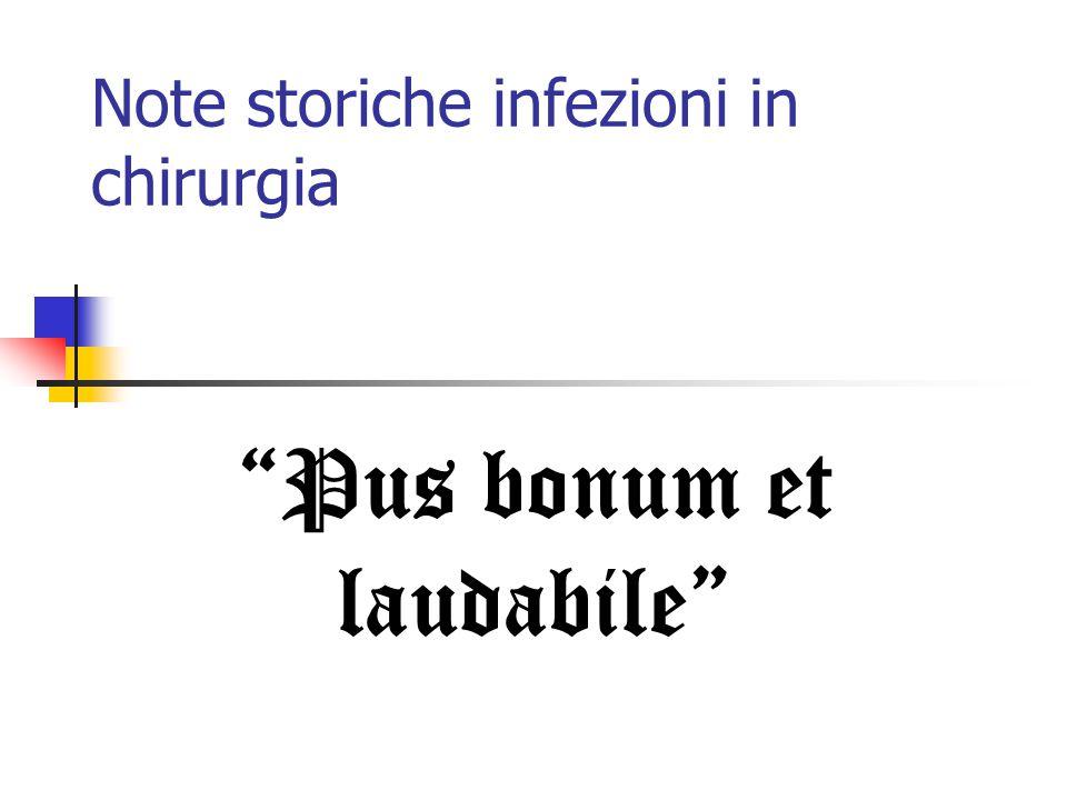 Note storiche infezioni in chirurgia Pus bonum et laudabile