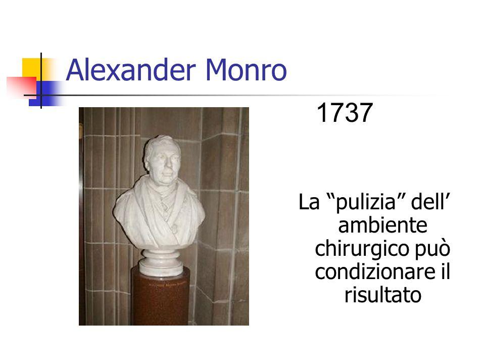 Alexander Monro La pulizia dell' ambiente chirurgico può condizionare il risultato 1737