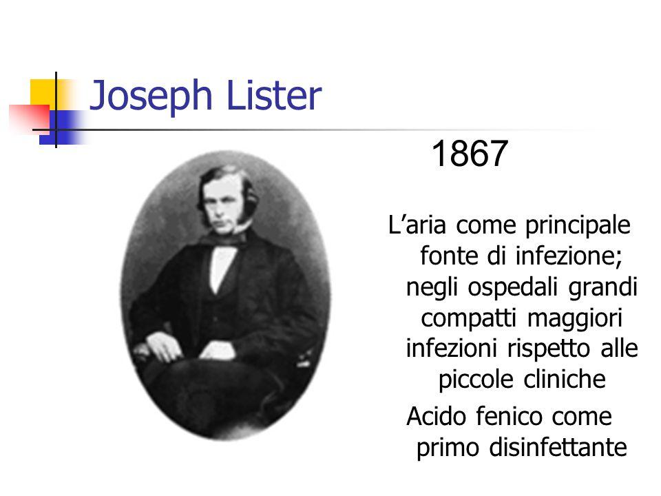 Joseph Lister L'aria come principale fonte di infezione; negli ospedali grandi compatti maggiori infezioni rispetto alle piccole cliniche Acido fenico come primo disinfettante 1867