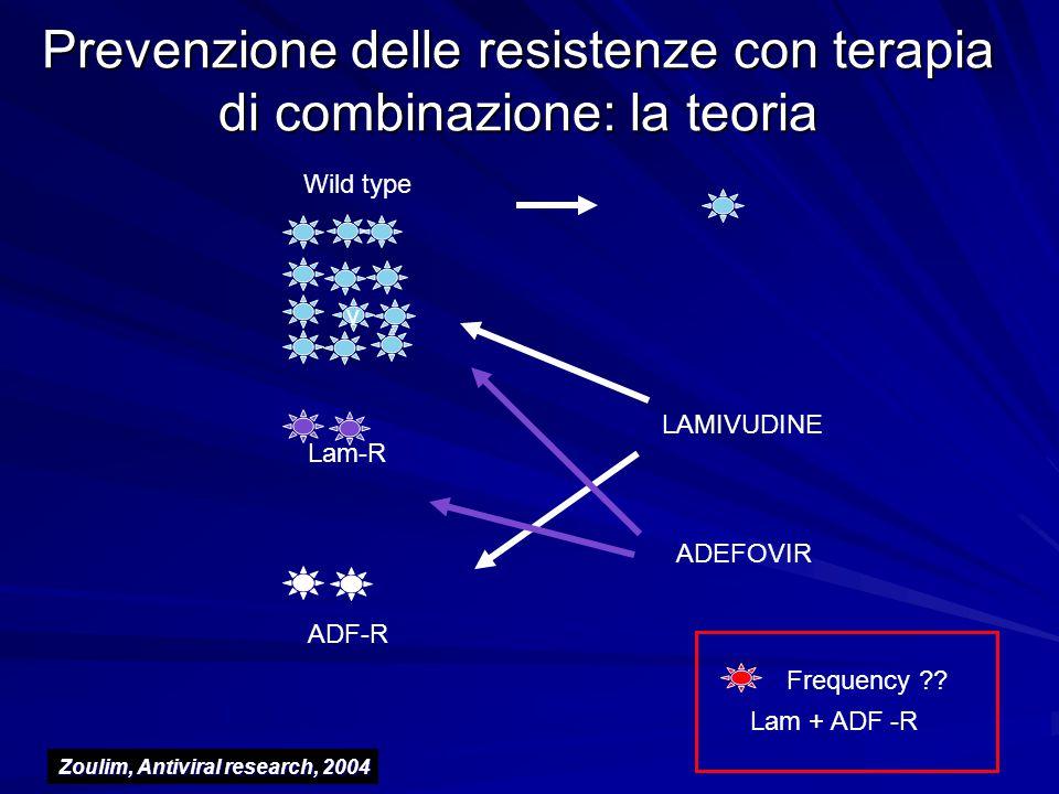 Prevenzione delle resistenze con terapia di combinazione: la teoria v Wild type Lam-R ADF-R Lam + ADF -R Frequency ?? LAMIVUDINE ADEFOVIR Zoulim, Anti