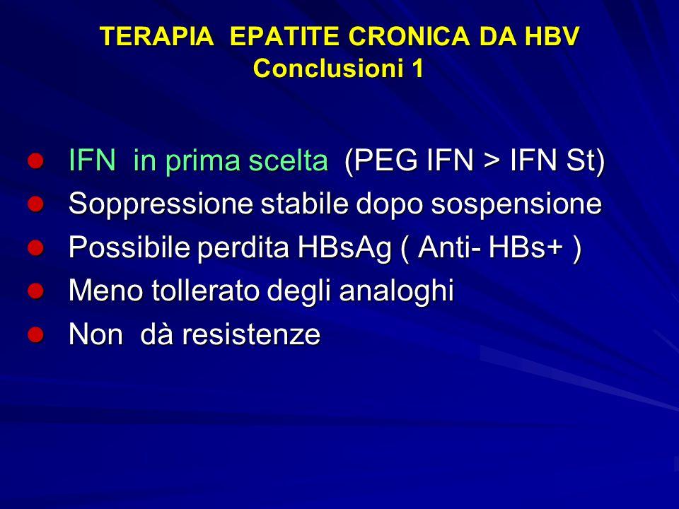 TERAPIA EPATITE CRONICA DA HBV Conclusioni 1 IFN in prima scelta (PEG IFN > IFN St) IFN in prima scelta (PEG IFN > IFN St) Soppressione stabile dopo s