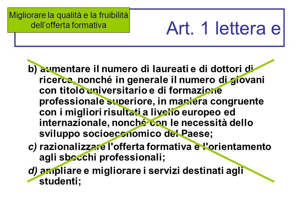 Art. 1 lettera e b) aumentare il numero di laureati e di dottori di ricerca, nonché in generale il numero di giovani con titolo universitario e di for