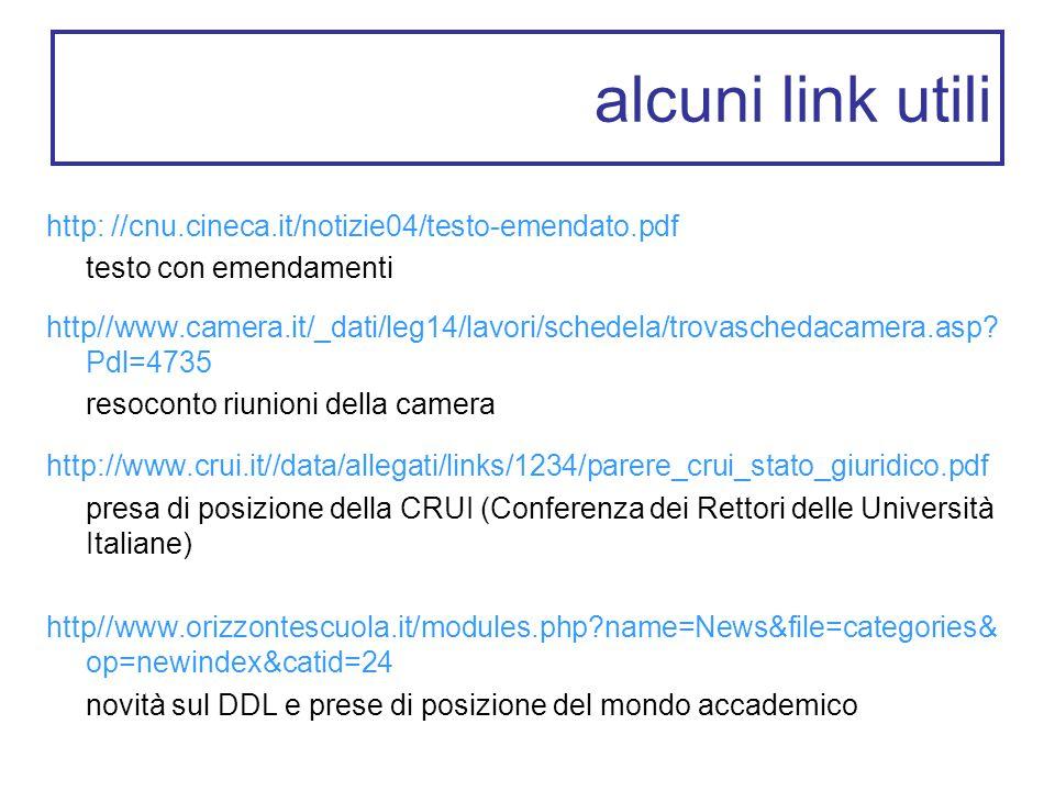 alcuni link utili http: //cnu.cineca.it/notizie04/testo-emendato.pdf testo con emendamenti http//www.camera.it/_dati/leg14/lavori/schedela/trovaschedacamera.asp.